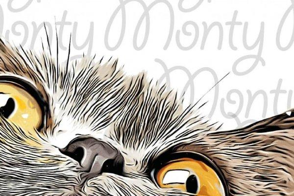 Large Graphic Cat Print
